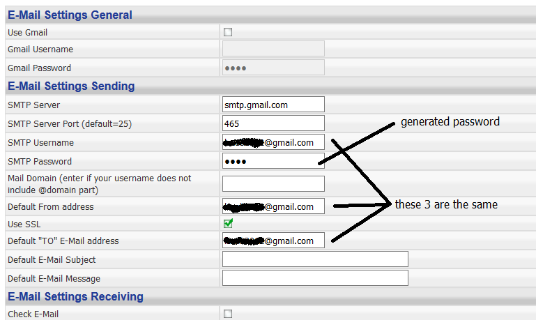 How to setup homeseer email to send and receive from gmail